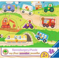 Puzzle Ravensburger din lemn cu vehicule - 8 piese