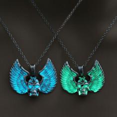Colier cu pandantiv Skeleton Wings luminescent, inoxidabil, 50 cm - Colier fashion