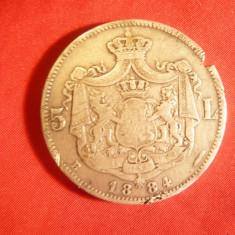 Moneda 5 lei 1884 Carol I , argint ,urme de pilire si agatare