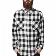 Camasi in carouri barbati negru-alb 2XL, XXL, Maneca lunga