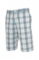 Pantalon scurt in carouri alb-turcoaz-negru 32 foto