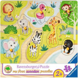 Puzzle din lemn animale Zoo - 8 piese, Ravensburger
