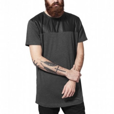 Tricouri barbati lungi umeri piele ecologica gri carbune-negru M