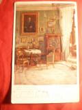 Ilustrata - Pictura- Camera lui Johann Straus, stamp. liniara Temess Zlatna 1917