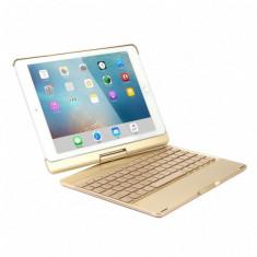 Husa carcasa cu tastatura LED Bluetooth Wireless pentru iPad Air / iPad Air 2 / iPad 9.7 2017 / 2018 din aliaj aluminiu, auriu - Husa Tableta