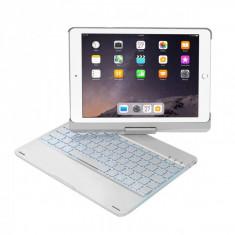 Husa carcasa cu tastatura LED Bluetooth Wireless pentru iPad Air / iPad Air 2 / iPad 9.7 2017 / 2018 din aliaj aluminiu, argintiu - Husa Tableta