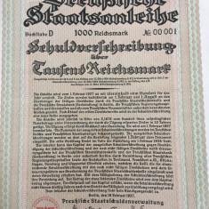 1000 Marci Titlu de Stat obligatiune la purtator Germania 1937