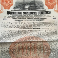 $1000 Aur obligatiune municipala Dortmund Germania 1928
