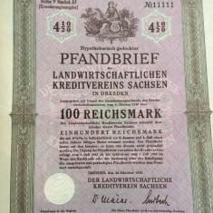 100 Reichsmark obligatiune la purtator Dresda Germania 1939 neincasata