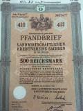 500 Reichsmark obligatiune la purtator neincasata Dresda Germania 1939