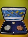Romania Set 1, 10, 100 Lei 2017 -10 ani de la aderarea României la UE. Cu caseta