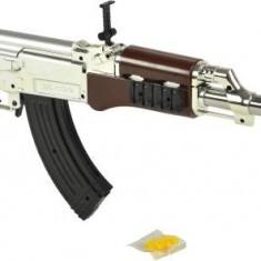 NOU! REPLIKA AIRSOFT 6MM AK47,PUSCA CU BILE,TEAVA METALICA,TINTA LASER+BILE .