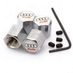 Set 4 capacele ventil roti Audi albe antifurt
