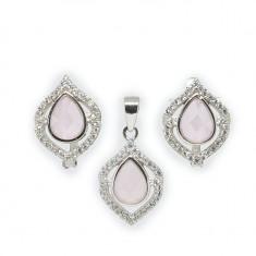 Set argint 925 cu piatra roz pal si zirconii - Set bijuterii argint