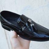 Pantofi eleganti din piele / mocasini nunta botez ocazie model 2018, 38 - 44, Negru