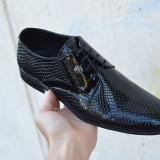 Pantofi eleganti din piele / mocasini nunta botez ocazie model 2018, 38 - 40, 42 - 44, Negru