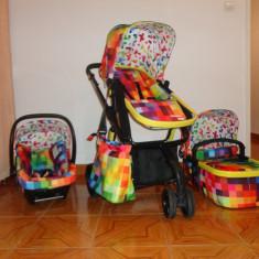 Carucior+Landou+Scoica pentru copii Cosatto Giggle Pixelate 3 in 1 - Carucior copii 3 in 1 Cosatto, Multicolor