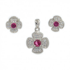 Set argint 925 cu piatra roz si zirconii