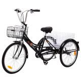 Tricicleta adulti 24 toli 6 viteze cadru inoxidabil-transport si agrement-NOUA, 19.5