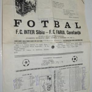 Program fotbal  F. C. Inter Sibiu - F. C. Farul Constanta 18 noiembrie 1995