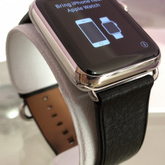 Apple Watch 1st Gen, 42mm, Stainless Steel, Classic Buckle, Black Leather 10/10, Otel inoxidabil, Argintiu