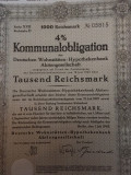 1000 Reichsmark obligatiune Germania 1943 neincasata cu cupoane