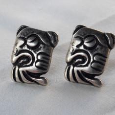 CERCEI argint AZTEC ca simbol VECHI superbi MEXIC patina minunata UNICAT vintage