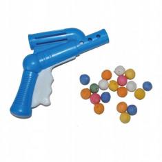 Pistol de jucarie cu bile din bumbac presat, multicolore