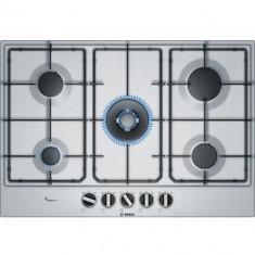Plita incorporabila Bosch gaz PCQ7A5B80, 5 arzatoare, suporturi otel, inox