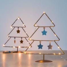 Pom de Crăciun cu Stele (10 LED-uri)Auriu - Ornamente Craciun