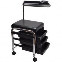 Ucenic pentru pedichiura cu scaun, 3 sertare, tavita, schelet metalic