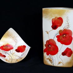 Set vaza si platou Colectia Floral Poppy - Arta din Sticla