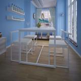 Set cu masă și scaune de bucătărie, cinci piese, alb