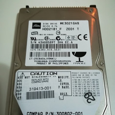 Hard disk 2.5 laptop IDE ATA 30Gb TOSHIBA MK3021GAS 4200 rot, Sub 40 GB, Seagate