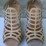 Pantofi dama sandale cu toc si platforma piele de vara marimea 39 - Sandale dama, Culoare: Bej