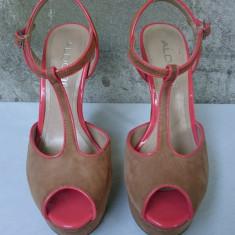 Pantofi dama sandale Aldo Italia piele cu toc si platforma de vara 39 - Sandale dama Aldo, Culoare: Bej
