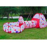 Tunel 3 piese cu cort de joaca pentru copii