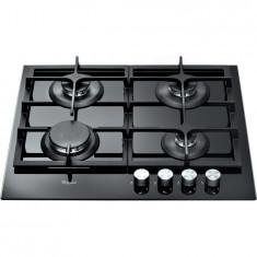 Plita incorporabila Whirlpool GOS 6415 NB, gaz, 4 arzatoare, cristal, aprindere electrica, gratare din fonta, negru