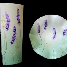 Set vaza si platou Colectia Floral Lavande - Arta din Sticla