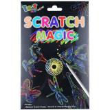 Kit stencil cu hartie magica multicolora, 15x11cm, model sablon animale