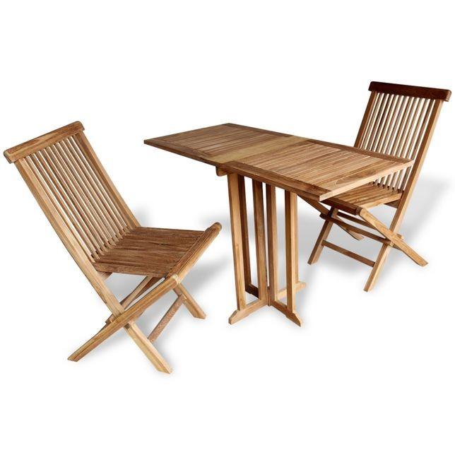 Set mobilier de balcon pliabil, 3 piese, lemn de tec foto mare
