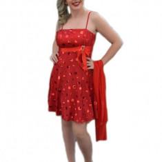 Rochie de banchet, cu buline, de culoare rosie (Culoare: ROSU, Marime: 36) - Rochie de seara