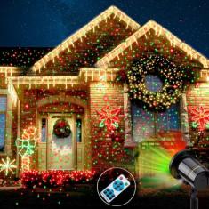 Proiector laser exterior IP44, cu telecomanda, joc de lumini verzi si rosii - Proiector LED