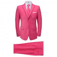 Costum bărbătesc cu cravată, mărime 56, roz, 2 piese