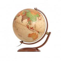 Glob geografic politic Optimus, iluminat, 30 cm, rotire 2 planuri, lemn cires