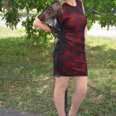 Rochie eleganta, suprapunere de dantela, neagra-rosie (Culoare: NEGRU-ROSU, Marime: 36) - Rochie de seara