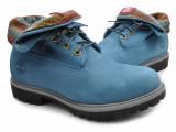 Bocanci barbat TIMBERLAND originali noi piele waterproof nubuck turquoise 43, Albastru, Piele naturala