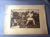 Nicolae Brana – Gravura - Romania 1942 ( 3 ) RARITATE  EXTREMA !, Istorice, Grisaille, Realism