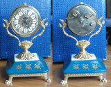 Ceas mecanic Germania de Vest , anii 50 , emailat si aurit , piesa de colectie