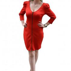 Rochie rosie, decoltata adanc, cu umeri fronsati (Culoare: ROSU, Marime: 36) - Rochie de zi